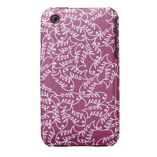 Fishbones Pink iPhone 3 Case