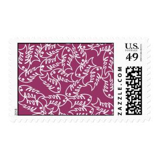 Fishbones Pink Postage Stamp