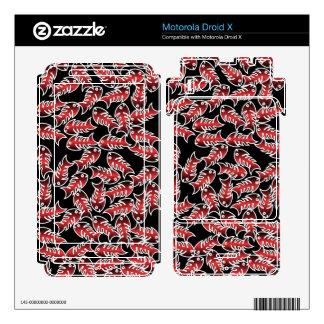 Fishbones Red Black Motorola Droid X Skins