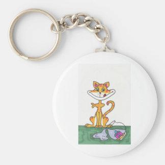 Fishbowl Cat Keychain