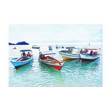 "Beach Themed Fisher boats (""peñeros"") in Mochicha, Venezuela Canvas Print"