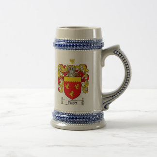 Fisher Coat of Arms Stein / Fisher Family Crest 18 Oz Beer Stein