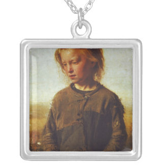 Fisher girl, 1874 silver plated necklace