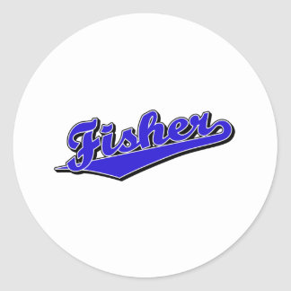 Fisher in Blue Classic Round Sticker
