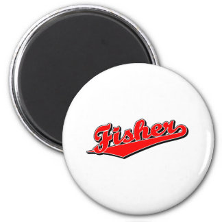 Fisher in Red 2 Inch Round Magnet