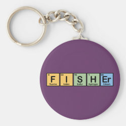Basic Button Keychain with Fisher design