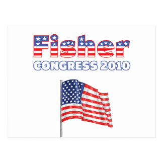 Fisher Patriotic American Flag 2010 Elections Postcard