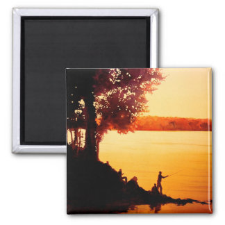 """""""Fisher People"""" Fishing Landscape Watercolor 2 Inch Square Magnet"""