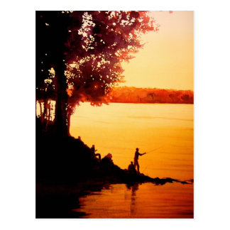 """Fisher People"" Fishing Landscape Watercolor Postcard"