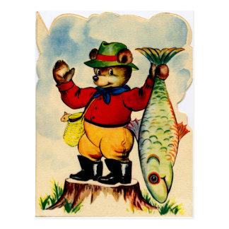 Fisherbear con su captura del día tarjetas postales