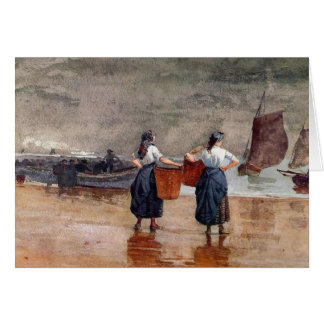 Fishergirls on the Beach Card