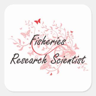 Fisheries Research Scientist Artistic Job Design w Square Sticker
