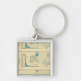 Fisheries Silver-Colored Square Keychain