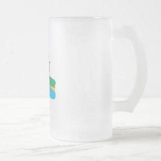 Fisherman 16 Oz Frosted Glass Beer Mug