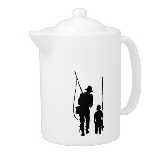 Fisherman and Child Silhouette