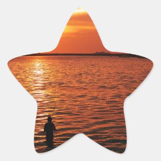 fisherman and sunset star sticker