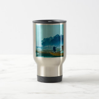 Fisherman at Dawn Vintage Japan Hand Colored Travel Mug