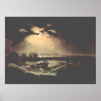 Fisherman at sea by Joseph Mallord Turner Poster