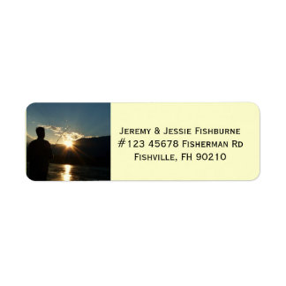 Fisherman at Sunset Fishing Business Label