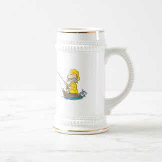 fisherman beer stein