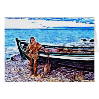 Fisherman by his Boat Greeting Card