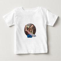 Fisherman Catching Chinook Salmon Retro Baby T-Shirt