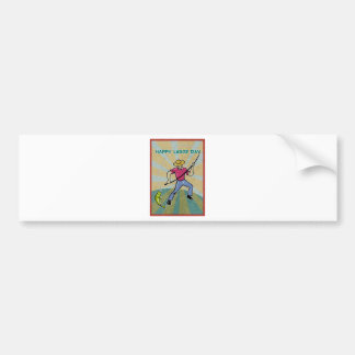 Fisherman catching fish with fishing rod vintage car bumper sticker