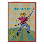 Fisherman catching fish with fishing rod vintage greeting cards