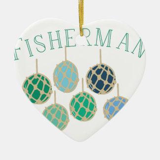 Fisherman Ceramic Ornament
