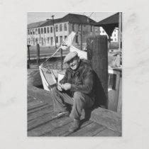 Fisherman, Christmas Day 1938 Holiday Postcard