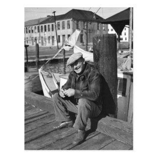 Fisherman, Christmas Day 1938 Postcard