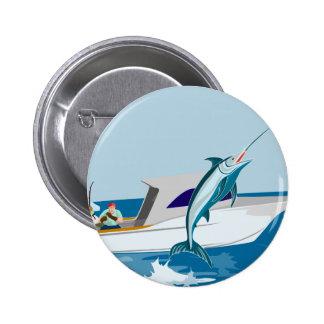 Fisherman fishing catching blue marlin button