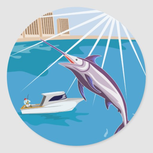 fisherman fishing catching blue marlin round sticker