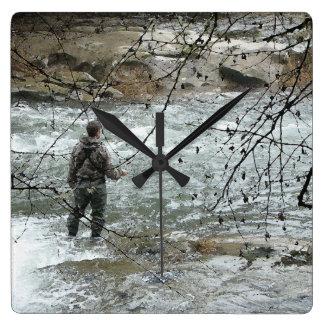 Fisherman Fly Fishing River Steelhead Trout Square Wall Clock