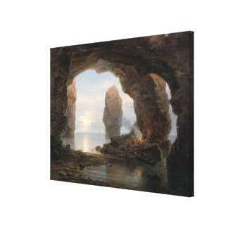 Fisherman in a Grotto, Helgoland, 1850 (oil on can Canvas Print
