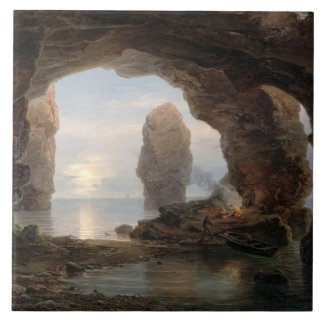 Fisherman in a Grotto, Helgoland, 1850 (oil on can Ceramic Tile