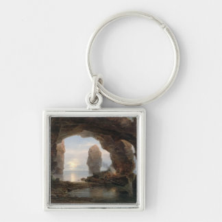 Fisherman in a Grotto, Helgoland, 1850 (oil on can Key Chains