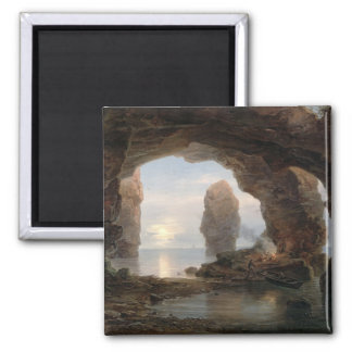 Fisherman in a Grotto, Helgoland, 1850 (oil on can Magnet
