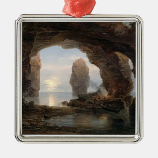 Fisherman in a Grotto, Helgoland, 1850 (oil on can Metal Ornament