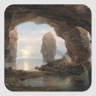 Fisherman in a Grotto Helgoland 1850 oil on can Square Stickers