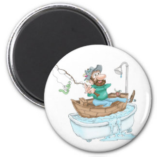 Fisherman in a tub 2 inch round magnet