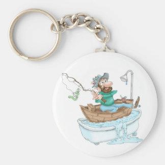 Fisherman in a tub basic round button keychain