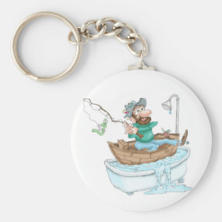 Fisherman in a tub keychain