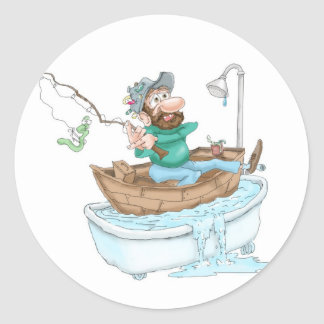 Fisherman in a tub round sticker