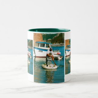 Fisherman in Bonne Nuit harbour Two-Tone Coffee Mug