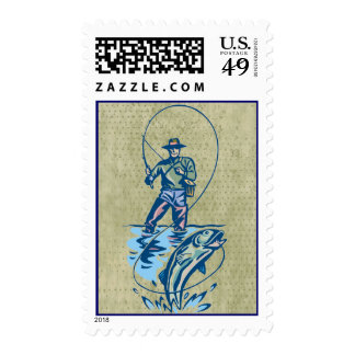 Fisherman line catch grungy postage stamps