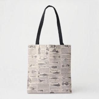 Fisherman Lures Antique News Advertising Tote Bag