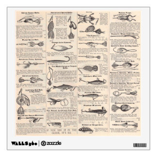 Fisherman Lures Antique News Advertising Wall Decal