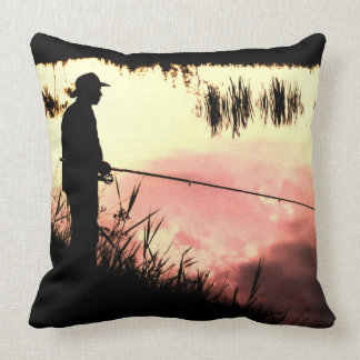Fisherman nature beautiful scenery throw pillow