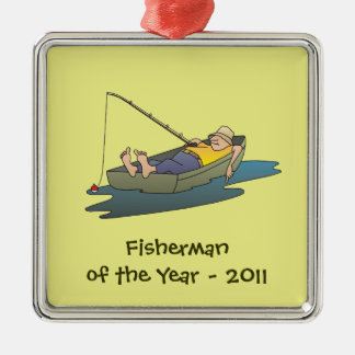 Fisherman of the Year award - lazy boat day Metal Ornament